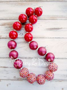 Red Chunky Necklace   Fits Toddler Girl Tween Teen by babyzdesigns