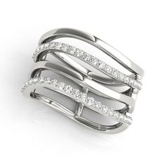 NEW LADIES 14k WHITE GOLD DIAMOND MULTIPLE ROW WAVES FASHION KNUCKLE RING  in Jewelry & Watches, Fine Jewelry, Fine Rings, Diamond | eBay
