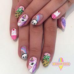 I Scream Nails - Melbourne Nail Art Unicorn Nails Designs, Unicorn Nail Art, Simple Nail Art Designs, Cute Nail Designs, Pink Nail Art, Pink Nails, October Nails, Nails For Kids, Swarovski Nails