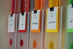 Organize paper into colors with binder clips to label :: OrganizingMadeFun.com