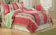 Lantana Bedding  (Hot Pink and Lime Green Bedding)  Just like walking into that great neighborhood  market you found in the city, Lantana is a  fusion of colors and prints taking you far away  form the everyday. Bright lime greens and hot  pinks dominate this quilt.