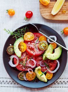 This simple tomato salad recipe is an easy side dish for any dinner or makes a great lunch!
