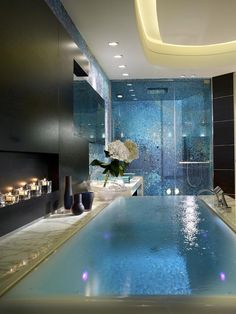 Spa Style: Create a romantic retreat in your own home with an infinity tub.