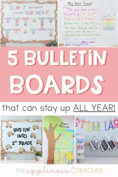 5 bulletin boards you can keep up all year long- yes please! I don't want to have to keep redoing my boards month after month! These are great suggestions! TheAppliciousTeacher.com