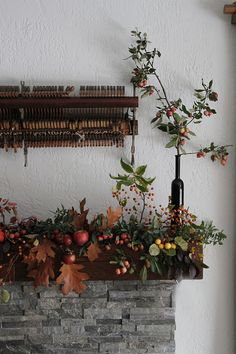 Foraged fall leaf and crab apple garland by Sarah Winward