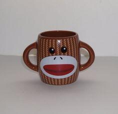 Galerie-Sock-Monkey-Barrel-Shaped-Double-Handle-Brown-Ceramic-Coffee-Mug-Cup
