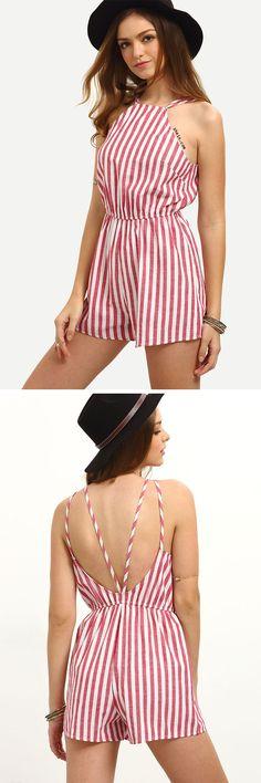 Vertical Striped Sleeveless Jumpsuit