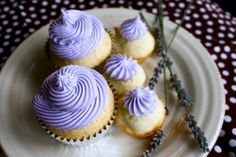 Lavender Buttercream Frosting:  How relaxing is lavender? Well, try it on a freshly baked lemon cupcake and heaven will be opened up to you!  Perfect for summer, bridal showers, baby showers, or after a stressful day at work!  This recipe makes enough frosting for about 26 cupcakes.