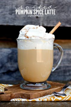 Easy Spiked Pumpkin Spice Latte with Pumpkin Spice Whipped Cream | anightowlblog.com