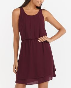 This Sleeveless Dress is a timeless classic. Crafted from a very light fabric, it features decorative pleats at the neck, an elastic waist and a double layer skirt. Wear this versatile dress alone or with a cardi when it's chilly at work. Canadian Clothing, Dresses For Work, Summer Dresses, Layered Skirt, Timeless Classic, Purple Dress, Denim, Formal, Casual