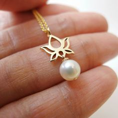 Items similar to Small Open Lotus with Fresh Water Pearl Dangle Necklace - Natural Bronze with Goldfilled Chain on Etsy Indian Wedding Jewelry, Bridal Jewelry, Beaded Jewelry, Gold Jewelry, Gold Pendent, Gold Jewellery Design, India Jewelry, Simple Jewelry, Jewelry Patterns