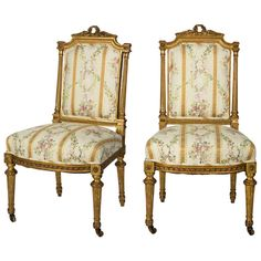 19th Century Pair of Louis XVI Style French Gilt Upholstered Chairs | 1stdibs.com