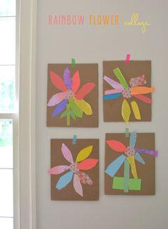 Rainbow Flower Collage