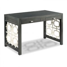A framed rectangular top rests over a pair of apron rail drawers flanked by pierced fretwork ends. Crafted from hardwood solids. Painted in two hues, Charcoal and Pearl White for dramatic contrast. Floor to Bottom of Apron: H. Outdoor Pub Table, Outdoor Bar Stools, Outdoor Dining Chairs, Trestle Dining Tables, Drum Table, Chair Side Table, Saddle Seat Bar Stool, Woodbridge Furniture, Diy Vanity Mirror