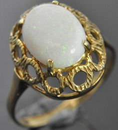 Estate Vintage 14K Yellow Gold Natural Opal Solitaire Openwork Oval Dome Ring #Solitaire