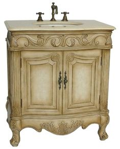 French Bathroom Fixtures french antique dresser style bathroom vanity with white marble
