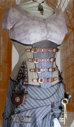 "33"" Taille Steampunk Korsett Leinen /Leather Abenteurer Buckled Unterbrust Körpermodifikation Korsett"