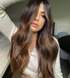 Brown Hair With Blonde Highlights, Brown Hair Balayage, Hair Color Balayage, Hair Highlights, Face Frame Highlights, Bronde Balayage, Balayage Brunette, Brunette Hair, Dark Balayage
