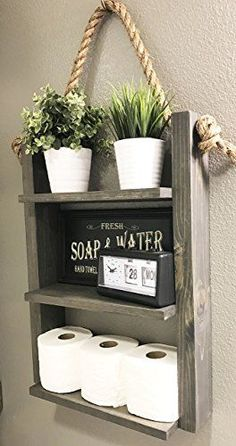 Bathroom Storage Shelf - Rustic Wood & Rope Bathroom Shelf - Cabin Home Decor - Medicine Cabinet - Toilet Paper Holder