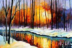 """Winter Sun — PALETTE KNIFE Landscape Oil Painting On Canvas By Leonid Afremov - Size: 36"""" x 24"""" (90cm x 60cm)"""