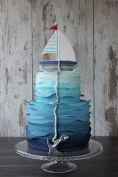 Teddy bear little sailor cake | Flickr - Photo Sharing! Sailor Cake, Wave Cake, Sailor Birthday, Happy Birthday, Nautical Cake, Nautical Birthday Cakes, Blue Birthday Cakes, Nautical Party, Ocean Cakes