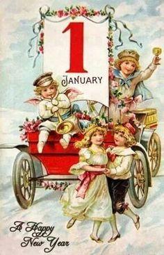 Printable Victorian Happy New Year Postcard - High Res Vintage Image Vintage Greeting Cards, Vintage Christmas Cards, Vintage Holiday, Vintage Postcards, Vintage Images, Vintage Happy New Year, Happy New Year Cards, New Year Greetings, Happy Year