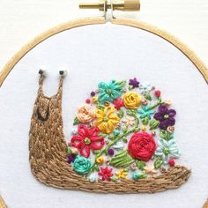 Floral Snail Embroidery Hoop Art Embroidery Wall by Cocoshoopla