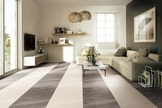 A modern lounge with Porcel-Thin volcanic ash porcelain tiles in light beige and graphite grey in a matt finish. Living Room Flooring, Living Room Kitchen, My Living Room, Wood Effect Floor Tiles, Wood Look Tile, Wood Floor, Wood Tiles, Laminate Flooring In Kitchen, Flooring Tiles