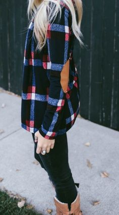 I like it in green the best but I love this, plaid, but a sweater instead of a shirt, love!  Plaid Elbow Patch Cardigan | Jane
