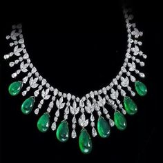 Prima Gems. An Exclusive Necklace of Natural Cabochon-Cut Drop With White Diamonds.