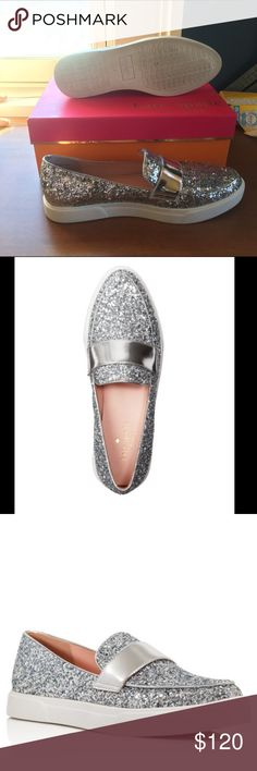 Kate Spade clove glitter slip-on shoes Super cute Kate Spade slip-on sneakers! Only have been worn once for a short amount of time. In amazing condition! kate spade Shoes Flats & Loafers
