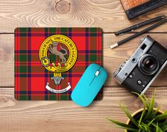 Rubber mouse mat with MacIntosh clan crest and tartan - only from ScotClans