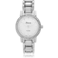 Brinley Co. Women's Rhinestone Bezel Metal Link Fashion Watch, Silver
