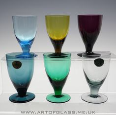 Harlequin set of 6 Swedish glasses