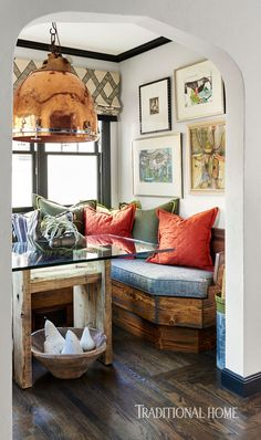 Arched doorway, Gallery Wall, Banquette