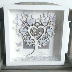 Diy Birthday Wishes, Best Birthday Gifts, Flower Shadow Box, Shadow Box Art, Box Frame Art, Box Frames, Family Tree Frame, Scrabble Art, Cricut Craft Room