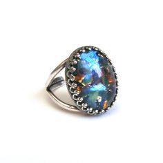Sterling Silver Blue Opal Ring, Vintage Czech Glass by TemporalFlux on Etsy