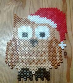 Christmas owl hama perler beads by Susanne Damgård Sørensen