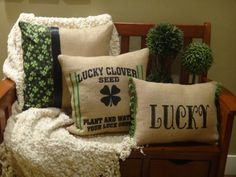 Burlap St. Patrick's Day Pillow Clover Seed by ReacquaintedDesign
