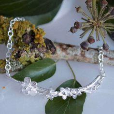 Silver Cherry Blossom Sprig Bracelet-Woodland Jewellery-Bridal Jewellery-Wedding Jewellery-Flower Bracelet