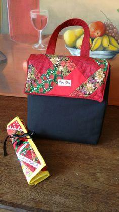 Bolsa Lancheira térmica em patchwork (seminole) e porta-talher em patchwork crazy