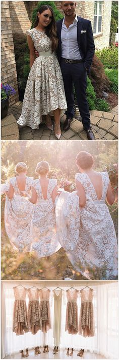 White round neck lace high-low prom dress, lace bridesmaid dress, cute lace wedding party dress