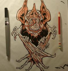 """One more for National Bat Appreciation Day. Here's a rather bizarre little """"Bat-Man"""" drawing I sketched out with red pencil, then inked with a Pentel Pigment Ink brush pen from October of last year  #nationalbatappreciationday #bat"""
