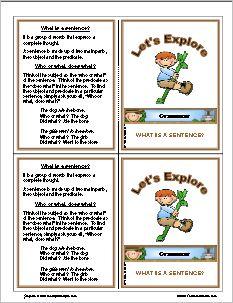 Exploring grammar- what makes a sentence. Free to print!