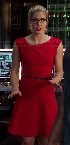 Felicity's red pleated neck dress on Arrow.  Outfit Details: http://wornontv.net/42071/ #Arrow