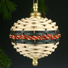 Basket Weave Christmas Ornament-Picture Only