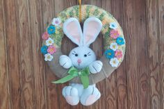Crochet easter wreath door decoration easter door wreath door | Etsy Easter Crafts To Make, Bunny Crafts, Easter Crochet, Crochet Bunny, Easter Wreaths, Door Wreaths, Easter Bunny, Decorating Your Home, Hanger