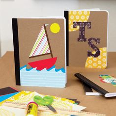 Back to school: Decorate notebooks (brown paper bag base). Cheap notebooks sometimes @ Target