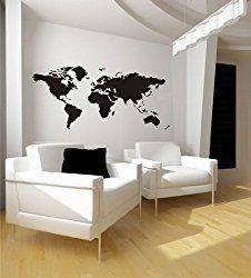 Wandtattoo Weltkarte Nr. 88 Größe: 125 X 58cm | Leere Wand, Weltkarte Und  Leere