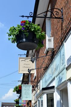 Hanging baskets by French Quarter on Crown Street, Brentwood Essex